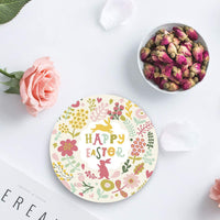 4-Piece Set Ceramic Coasters for Drinks,Easter Bunny Flowers Geometric Illustrations Unique Absorbent Round Ceramics Cork Backed Cup Mat for Home/Housewarming Gift
