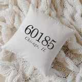 Personalized Throw Pillow - Zip Code, Handmade in the USA, calligraphy, home decor, wedding gift, engagement present, housewarming gift, cushion cover, throw pillow