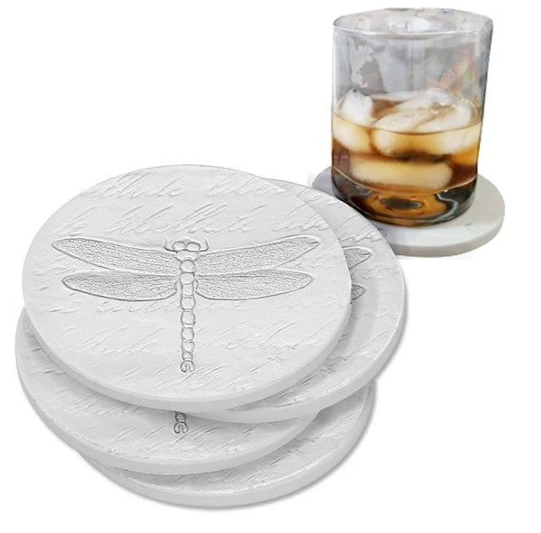 "Drink Coasters - Dragonfly - Absorbent - set Handmade by McCarter Coasters for Patio Garden - House - Tabletop Protection - House Warming - Hot or Cold Beverages 4.38"" Off-White (4pc)"
