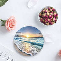 Round Drinks Absorbent Stone Coaster Set with Ceramic Stone and Cork Base for Kinds of Mugs and Cups, Housewarming Gift - Nature Landscape Beach Ocean Wave Sunset Set of 4