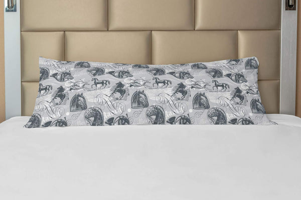 "Ambesonne Horses Body Pillow Case Cover with Zipper, Vintage Monochrome Sketch Stallion Swirls Calligraphic Design Animal Theme, Decorative Accent Long Pillowcase, 21"" x 54"", Grey White"