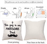 Aeora Creative Father's Birthday Gift Pillow Covers 18''x18'' Burlap Lined Linen Square Sofa Throw Cushion Pillowcase Covers for Dad