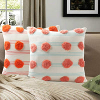 Tiffasea Tufted Boho Throw Pillow Cover 18x18, Striped Decorative Pillow Covers Small Cute Pompoms Pillowcases, Farmhouse Square Cushion Cover for Bed Couch Sofa Bedroom Living Room, Tangerine