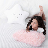 Set of 2 Decorative Throw Pillows for Girls, Baby Kids. Star Fluffy White Cute Embroidered Sleeping Face and Furry Pink Faux Fur, Soft and Plush - For Crib - Nursery Toddler or Teen Bedroom Décor