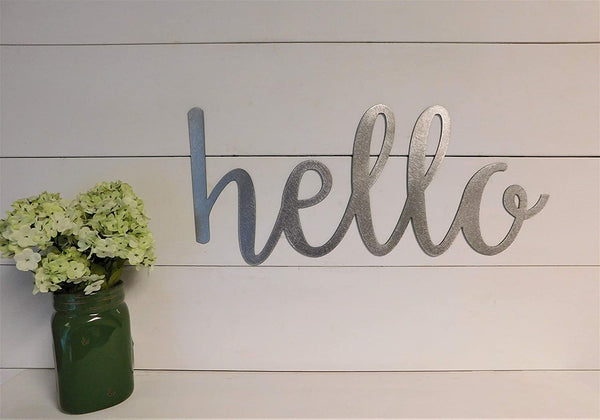 Hello Sign, Metal Hello Sign, Rustic Word Art Sign, Housewarming Gift Idea