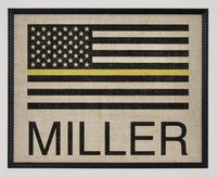 DISPATCHER Gift - Thin Gold Line Flag - Personalized on Burlap