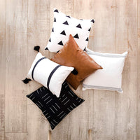 Two Queens Lane Faux Leather Pillowcase Throw Pillow Cover - Modern Boho Chic Brown Faux Leather Decorative Throw Pillows Cases Only for Couch Bed Home Decor (1, 18 x 18)