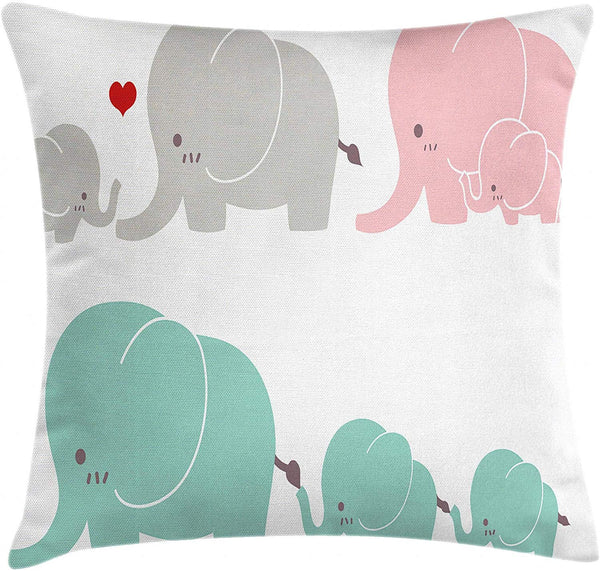 "Ambesonne Nursery Throw Pillow Cushion Cover, Family Love Theme Elephants Mother's Day Theme Baby Children, Decorative Square Accent Pillow Case, 16"" X 16"", Seafoam Pale Pink Grey"