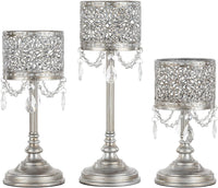 AMALFI DÉCOR Victoria 3-Piece Antique Gold Hurricane Candle Holder Set with Crystals, Metal Pillar Wedding Accent Stand