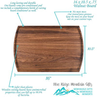 Blue Ridge Mountain Gifts Personalized Cutting Board Real Wood - Maple, Cherry, or Walnut, 3 Sizes and Many Designs Great Wedding, Anniversary, Housewarming or Real Estate Gift (16 x 10.5 Walnut)