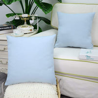 CaliTime Pack of 2 Throw Pillow Covers Cases for Couch Sofa Home Decoration High Class Faux Linen Solid Color 18 X 18 Inches Light Blue