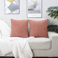 HPUK Decorative Pillow Covers 2 Pack Throw Pillows Covers Couch Pillow Covers Farmhouse Pillowcase 17X17 for Couch, Sofa, Bedroom, Coral