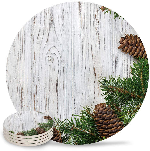 6-Piece Set Ceramic Coasters for Drinks,Pine Green Spring Wood Texture Unique Absorbent Round Ceramics Cork Backed Cup Mat for Home/Housewarming Gift