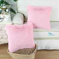 CaliTime Super Soft Throw Pillow Cover Case for Couch Sofa Bed Solid Plush Faux Fur 18 X 18 Inches Baby Pink