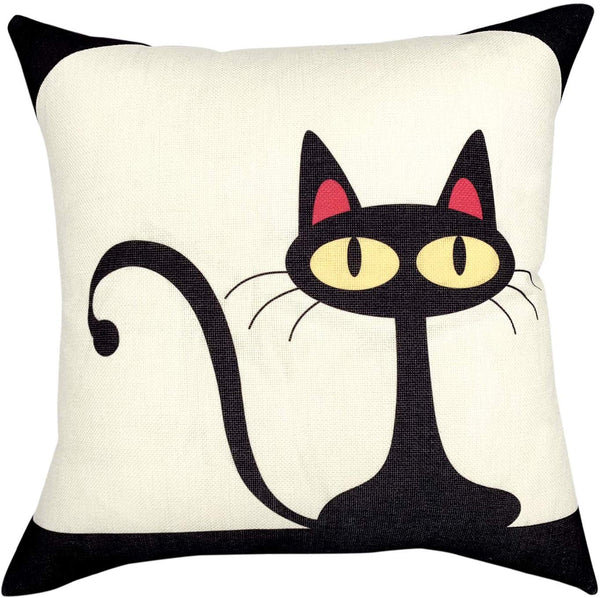 YOUR SMILE Kid's Series Cute Cartoon Animal Cotton Linen Sofa Home Decor Design Throw Pillow Case Cushion Covers Square 18x18 inch (Cat 4, 18'' x 18'')