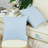 CaliTime Pack of 2 Cozy Throw Pillow Covers Cases for Couch Bed Sofa Super Soft Faux Suede Solid Color Both Sides 18 X 18 Inches Light Blue