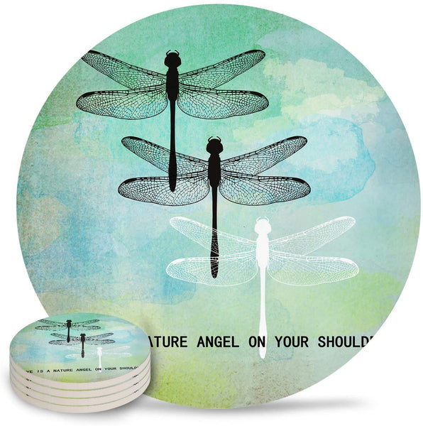 6-Piece Set Ceramic Coasters for Drinks,Dragonflies Green Watercolor Background Unique Absorbent Round Ceramics Cork Backed Cup Mat for Home/Housewarming Gift