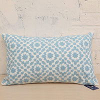 Lumbar Decorative Throw Pillow Cover Cotton Canvas Trellis Mina Light Blue Pillow Case, Sky Blue 1pc 12x20 inch Cushion Cover 30x50cm