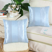 CaliTime Pack of 2 Cushion Covers Throw Pillow Cases Shells for Couch Sofa Home Decoration Modern Shining & Dull Contrast Striped 20 X 20 Inches Light Blue