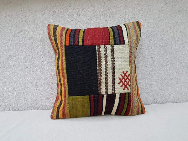 Turkish Patch Work Pillow, Boho Home Decor for Farmhouse, Handmade Accent Throw Pillow, Anatolian Kilim Pillow Cover, Mixed Pattern Colorful Kilim Pillow Case 20'' x 20''(50 x 50 Cm)