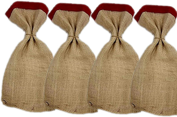 4 Pack -Burlap Bags - Large Bag red Ribbon Mouth, Christmas-Bag 13-14 inch by 27 inch, Wedding Party Favor Gift Bags, saco de arpillera