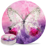 Ceramic Drink Coasters, Absorbent Heat-Resistant Stone Coaster Set for Drinks, Perfect Housewarming Gift Idea 6 Pieces - Retro Watercolor Butterfly Pink