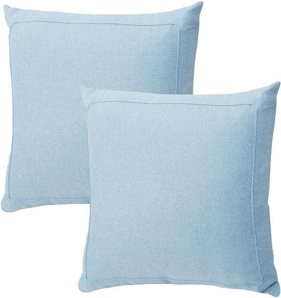 Jepeak Burlap Linen Throw Pillow Covers Cushion Cases, Pack of 2 Farmhouse Modern Decorative Solid Square Thickened Pillow Cases for Sofa Couch (Baby Blue, 24 x 24 inches)