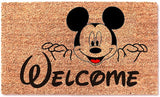 Welcome Cute Mickey Funny Non Slip Doormat - Entryway Outdoor Floor Mat - Easy Clean Home Decor Housewarming Wedding New House Birthday Door Family Rug - Brown Mat with Black Font