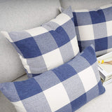 YOUR SMILE Retro Farmhouse Buffalo Tartan Checkers Plaid Cotton Linen Decorative Throw Pillow Case Cushion Cover Pillowcase for Sofa 18 x 18 Inch, Set of 2, Navy/White