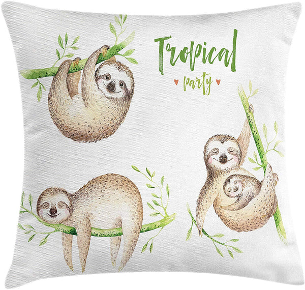 "Ambesonne Sloth Throw Pillow Cushion Cover, Babies in Tropical Nature Theme Exotic Palm Tree Leaves Nursery Aloha, Decorative Square Accent Pillow Case, 16"" X 16"", Pale Brown Green"