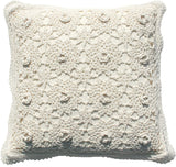 Kamay's Decorative Pillow Covers Cotton Vintage Handmade Crochet Throw Pillow Cushion Covers Handcraft Pillowcase 3D Lace Floral Pattern Rural Style