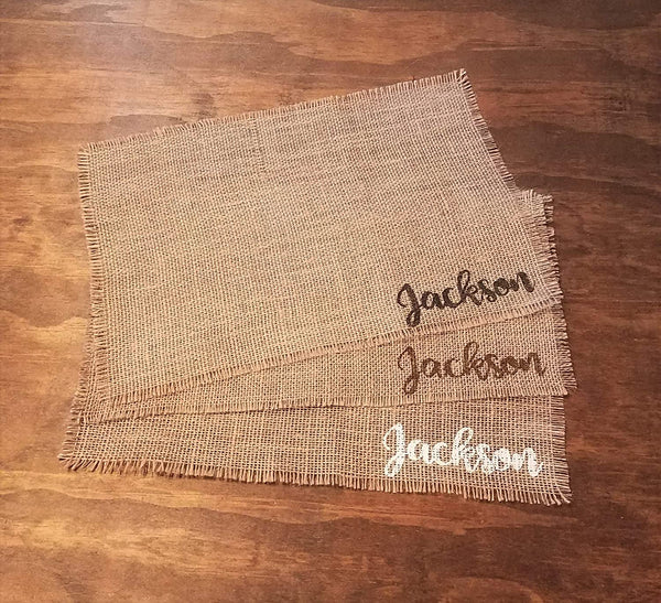 Personalized Last Name Placemats, Rustic Burlap Thanksgiving Placemats, Farmhouse Fall Table Decor, Burlap Autumn Decorations, Rustic Fall Placemats, Table Mats Set of 2, 4, 6, 8, 10, or 12