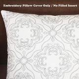 SLOW COW Cotton Linen Embroidery Decorative Throw Pillow Cover Pillowcase for Couch Bedroom Geometric Pattern Cushion Cover 20 x 20 Inches Dark Gray