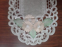 Doily Boutique Table Runner with Gold Daisies on Sage Green Burlap Linen Style Fabric, Size 54 x 16 inches