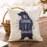Fahrendom Woodland Style Vintage Bear Be Strong and Courageous Rustic Nursery Décor Cotton Linen Home Decorative Throw Pillow Case Cushion Cover with Words for Sofa Couch, 18 x 18 in