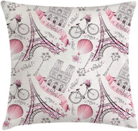 Wecye City Love Throw Pillow Cushion Cover, Iconic Elements of Paris Hearts on The Eiffel Tower and a Bicycle, Decorative Square Accent Pillow Case, 18 X 18 Inches, Dark Purple and Baby Pink