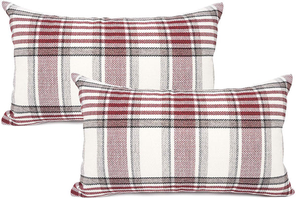 YOUR SMILE Set of 2 Retro Farmhouse Outdoor/Indoor Buffalo Tartan Chequer Stripe Plaid Cotton Linen Decorative Throw Pillow Case Cushion Cover Pillowcase for Sofa Chair (Red, 12x20inch)