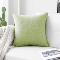 Home Brilliant Lined Linen Burlap Square Spring Throw Pillow Cover Decorative Pillowcase Cushion Cover for Couch, 18 x 18 inches(45cm), Grass Green