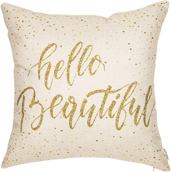 "Fjfz Girl Nursery Décor Hello Beautiful Motivational Sign Inspirational Quote Girly Decoration Cotton Linen Home Decorative Throw Pillow Case Cushion Cover for Sofa Couch, 18"" x 18"""