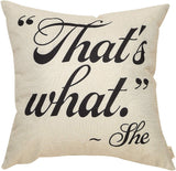 "Fjfz The Office Décor TV Show Funny Sign Decoration That's What She Said Quote Cotton Linen Home Decorative Throw Pillow Case Cushion Cover with Words for TV Lover Sofa Couch, 18"" x18"""