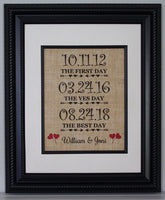 The First Day, The Yes Day, The Best Day, Personalized Burlap Print, Wedding Gift, Anniversary Gift, Engagement Gift, Wedding, Sign with Date of Wedding