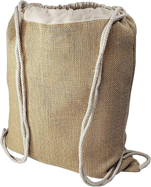 12 Pack Burlap Drawstring Bags - Jute Burlap Backpacks for Promotions, Events, Decorating, Hiking, Daypacks for Weddings Gift Bags, Welcome Bags, School, Gym, Bachelor, Bacheloratte Bags and More!