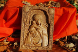 Virgin Mary and Baby Jesus Wood Carved Religious Virgin Mary Icon Christian Gifts Wedding Anniversary gifts housewarming gifts Wall Hanging Art Work