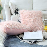 Home Brilliant Mother's Day Decorative Pillow Covers Faux Fur Accent Throw Pillow Cover Cushion Case for Couch, Set of 2 (18 x 18 Inch, Pink)