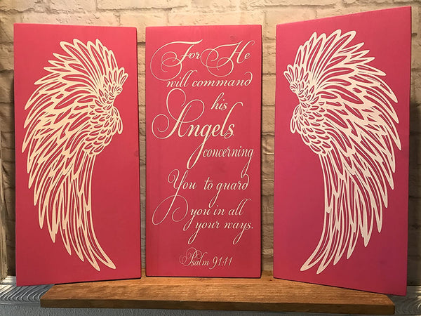 Angel Wings Wall Decor, Psalm 91:11 Angels Scripture Verse, Shabby Chic Decor, Wall Decor, Nursery Decor, Baby Shower Gift, Housewarming, Wedding Gift