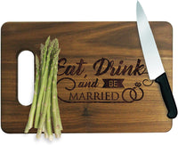 "The Wedding Party Store Eat Drink and Be Married Walnut Cutting Boards - Wedding Cutting Board Housewarming Gifts for Couples (Walnut, Small - 9"" x 6"")"