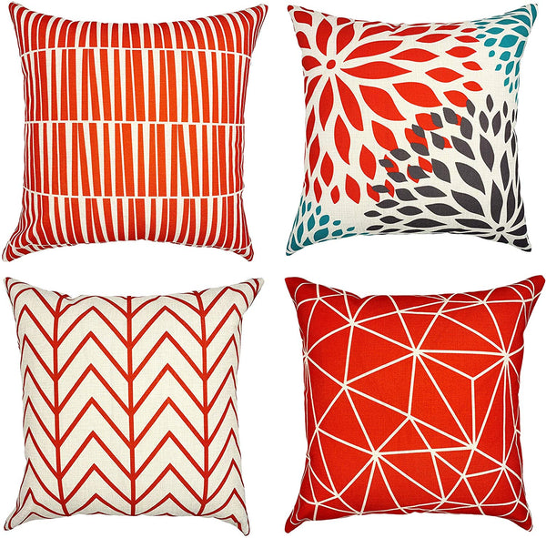 YOUR SMILE Set of 4 Red Geometry Christmas Decorative Linen Throw Pillow Case Cushion Cover Pillowcase for Couch Sofa Bed,18 X 18 Inches