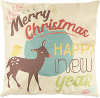 Juvale Christmas Throw Pillow Covers - 6-Pack Colorful Decorative Couch Throw Pillow Cases, Cute Animals and Christmas Illustration Design, Festive Home Decor Cushion Covers, Fits 18 x 18 Pillows