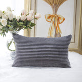 Home Brilliant Decorative Plush Striped Velvet Corduroy Oblong Pillowcase Accent Cushion Cover, 12 x 20 inches (30x50 cm), Dark Grey