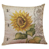 4 Pcs Throw Pillow Covers Decorative Couch Pillow Cases Cotton Linen Sunflower